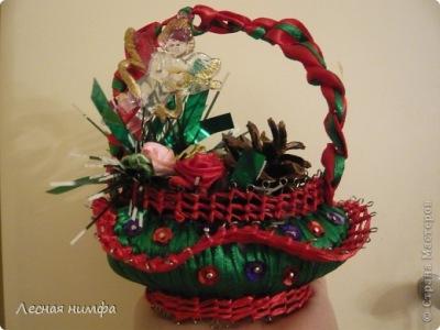 Декор предметов Новый год Макраме Новогодняя корзиночка из мыла Ленты фото 1.