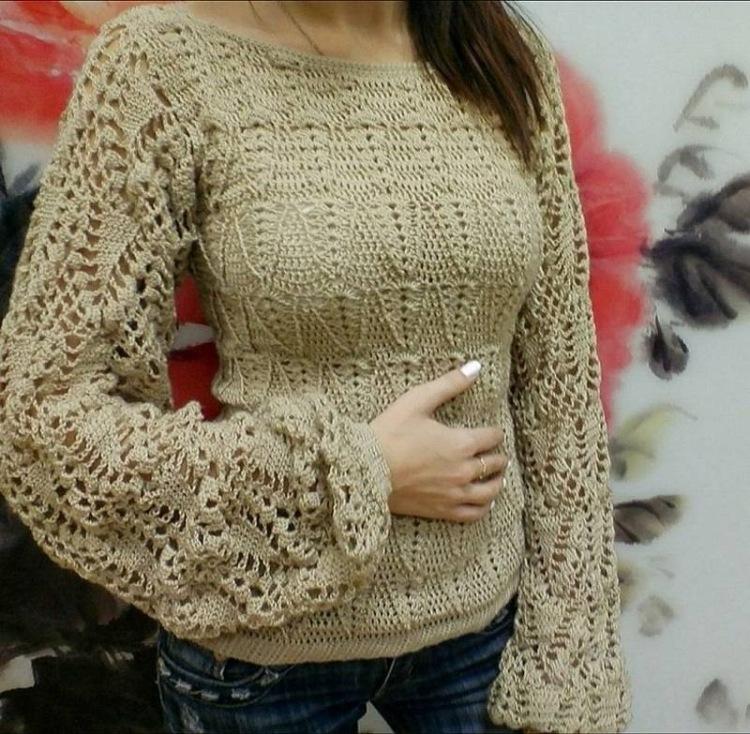 Вязание крючком свитер фото