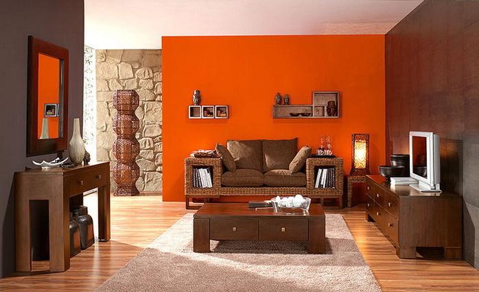 Сочетание с оранжевым цветом интерьер