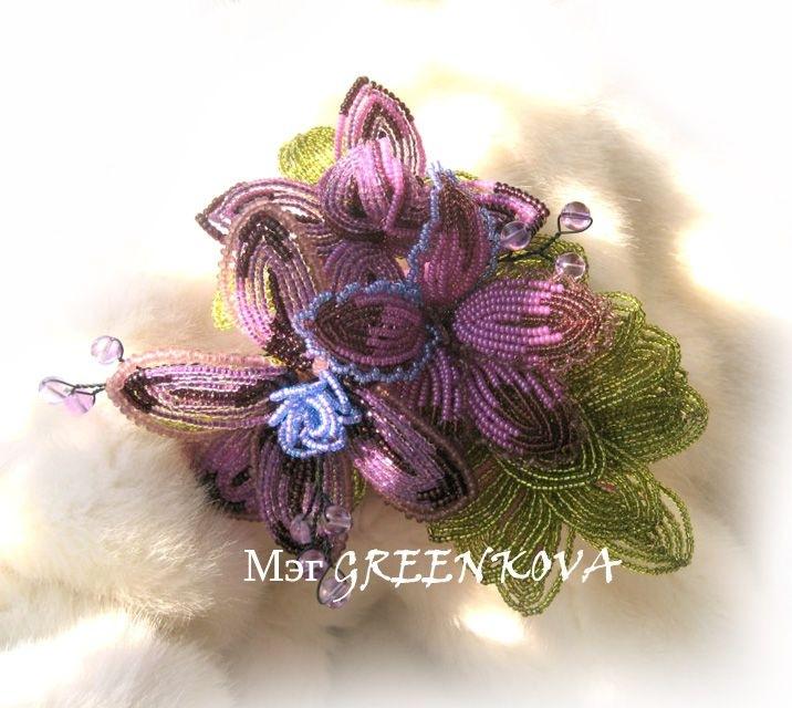 орхидея из бисера мастер класс.