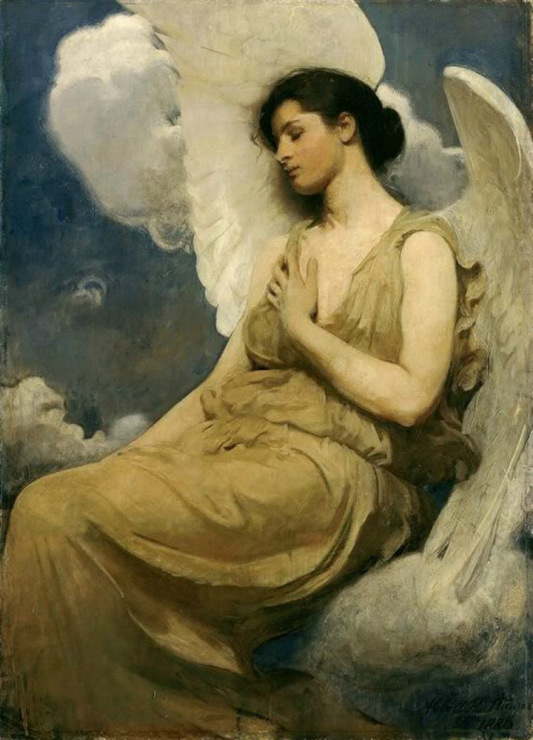 Famous masterpieces nude angel with wings