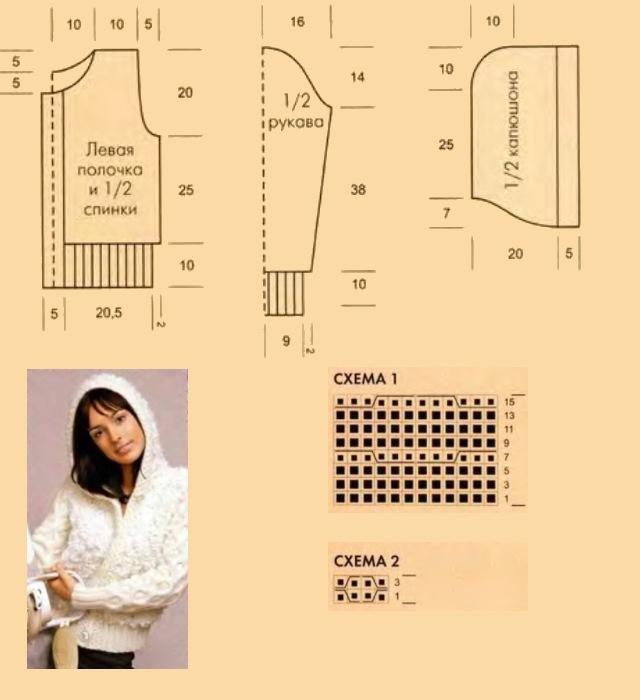 Как вязать кофту с капюшоном спицами для