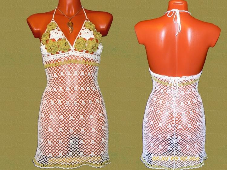 Открытое летнее пляжное платье вязаное крючком никого не оставит равнодушным