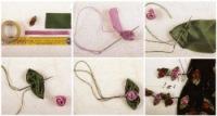Роза с листиками 1. Отрежьте 11 -12 см розовой ленточки шириной 1 см для выполнения розочек шириной 2 см для...