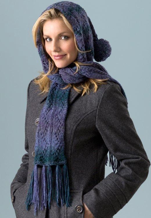 Ажурный шарф – капюшон Hooded
