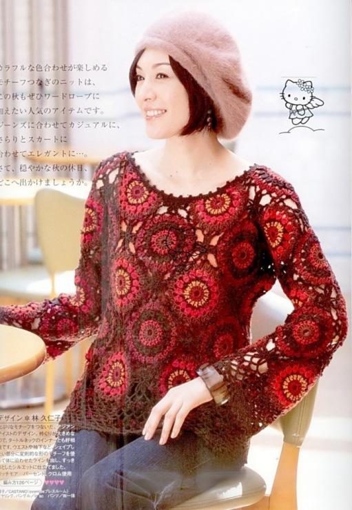 Вязание пуловера мотивами крючок