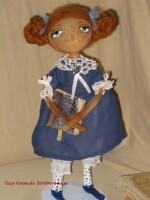 ...36 см. Кукла интерьерная Девочка-тыквоголовка.  Сшита из бязи...