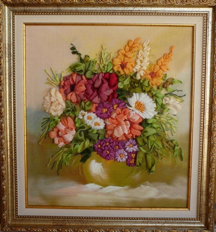 Вышивка лентами фото готовых работ картины 37