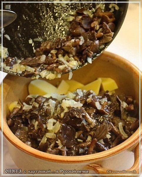 Опята с картошкой из русской печки