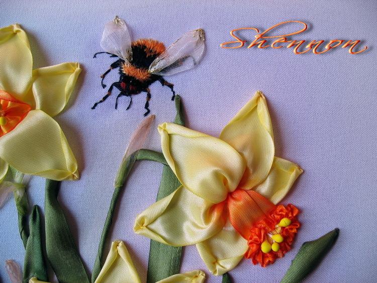 Бабочка из атласной ленты вышивка