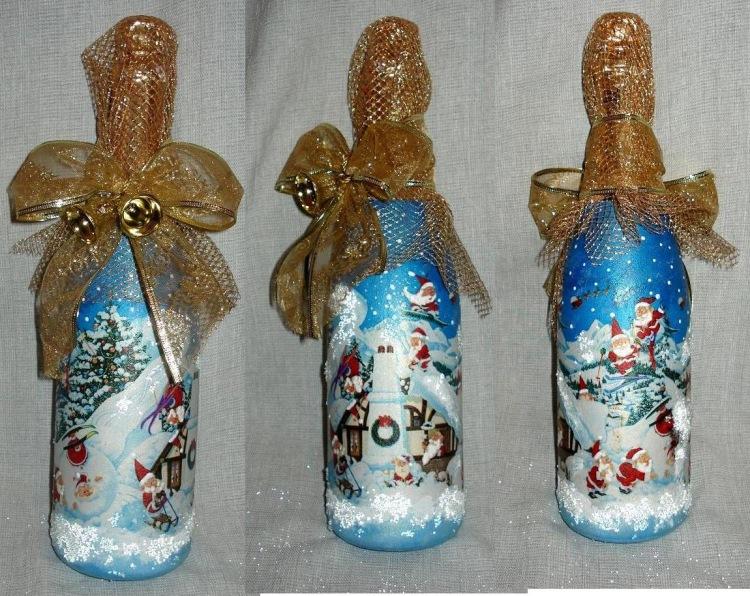 Бутылка к новому году своими руками фото