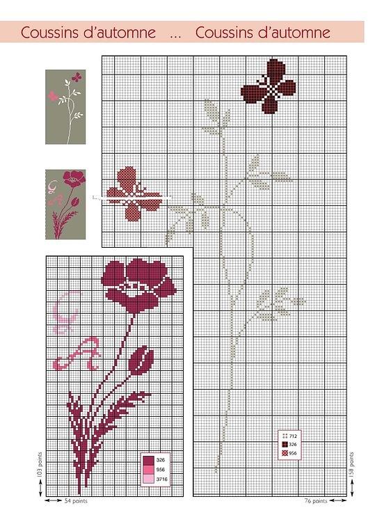 Вышивки монохром цветы 71