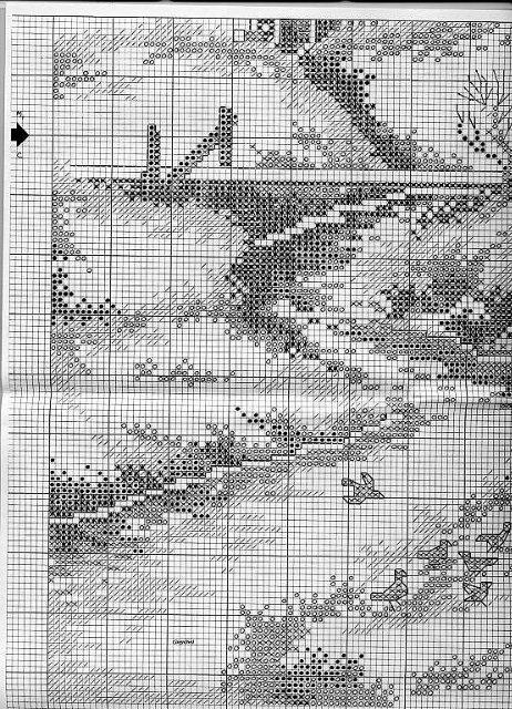 Схемы вышивки крестом пейзажи природа монохром6