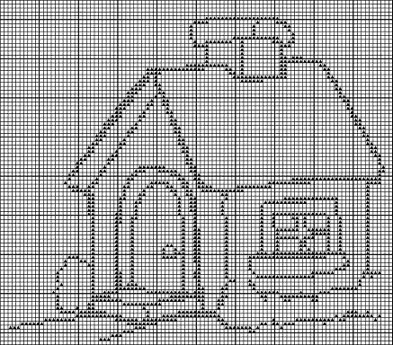 Схемы вышивки крестом дом монохромная