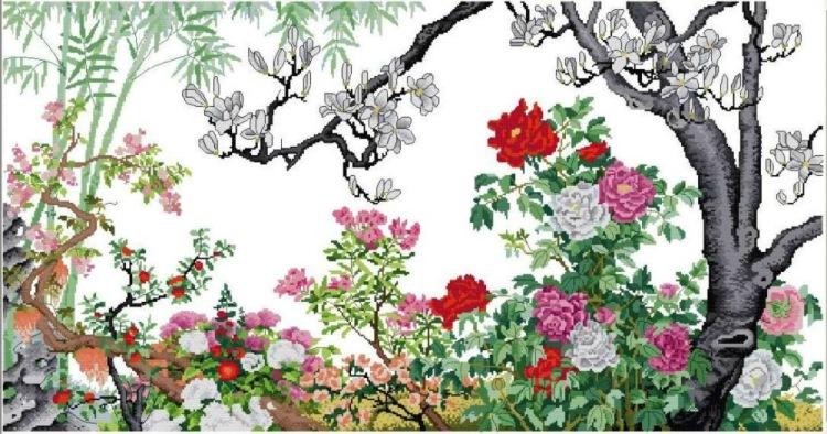 """Схема вышивки  """"Сад цветов """" ."""