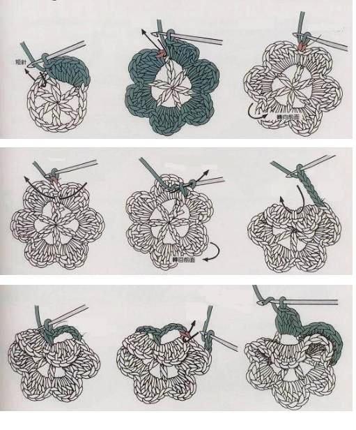 Пинетки цветочки крючком схема