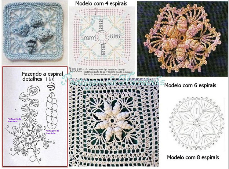 Крючок вязания объемного цветка в квадрате