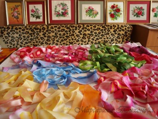 Чем красить ленты для вышивки 39