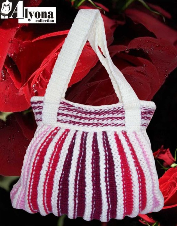 钩针编织玫红色包包