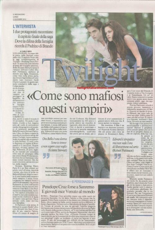 """Скан с """"Рассветом"""" в газете Messaggero [Италия]"""